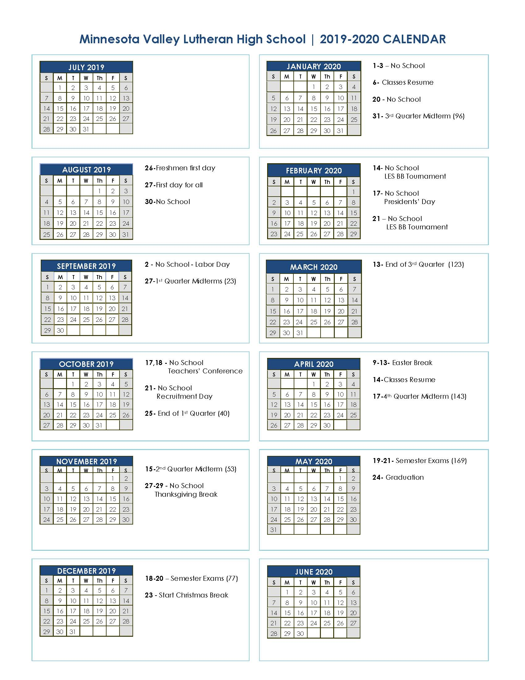 Lutheran Calendar 2019 Academic Calendar 2019 2020 | Minnesota Valley Lutheran High School