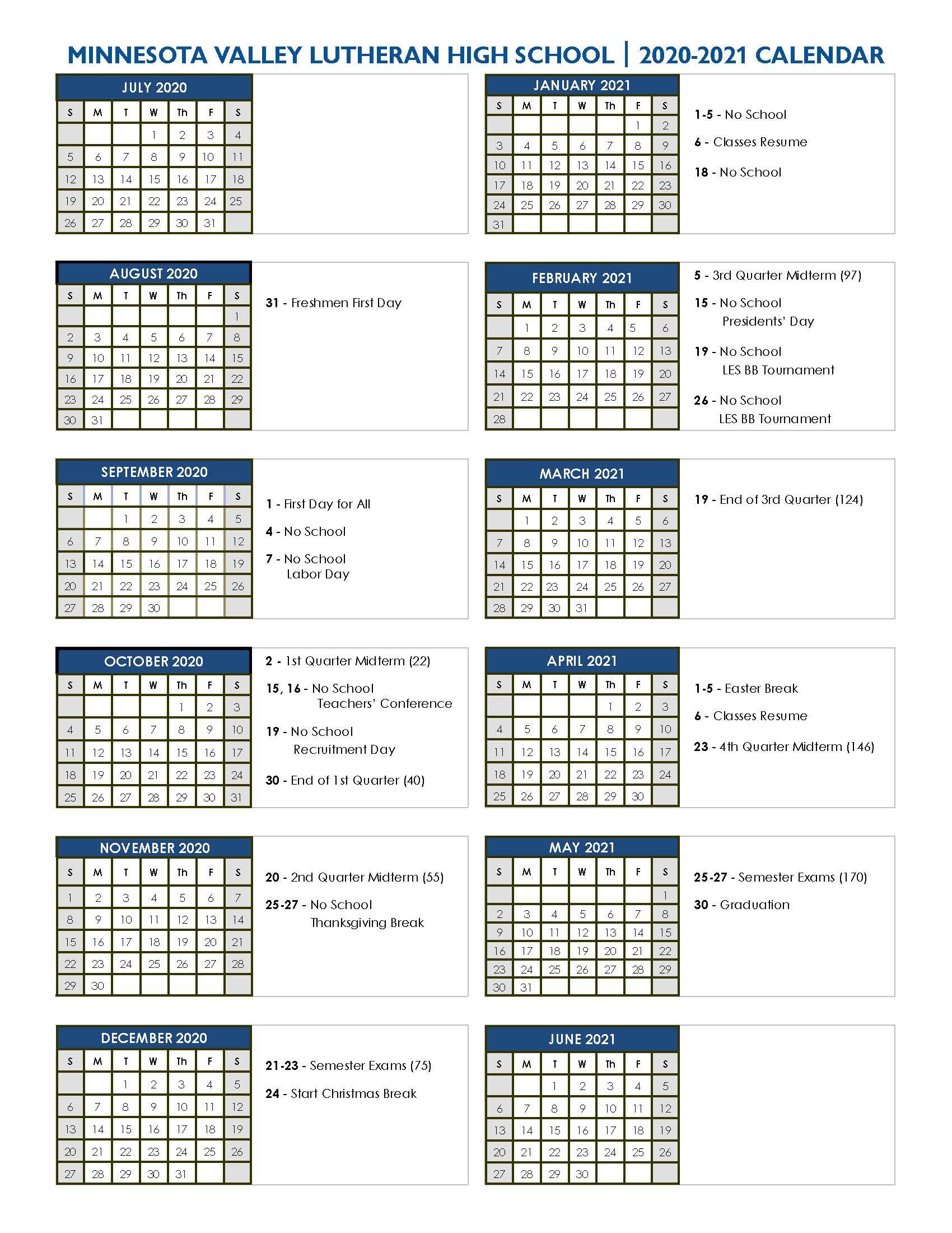 University Of Arizona Calendar 2021 Academic Calendar 2020 2021 | Minnesota Valley Lutheran High School